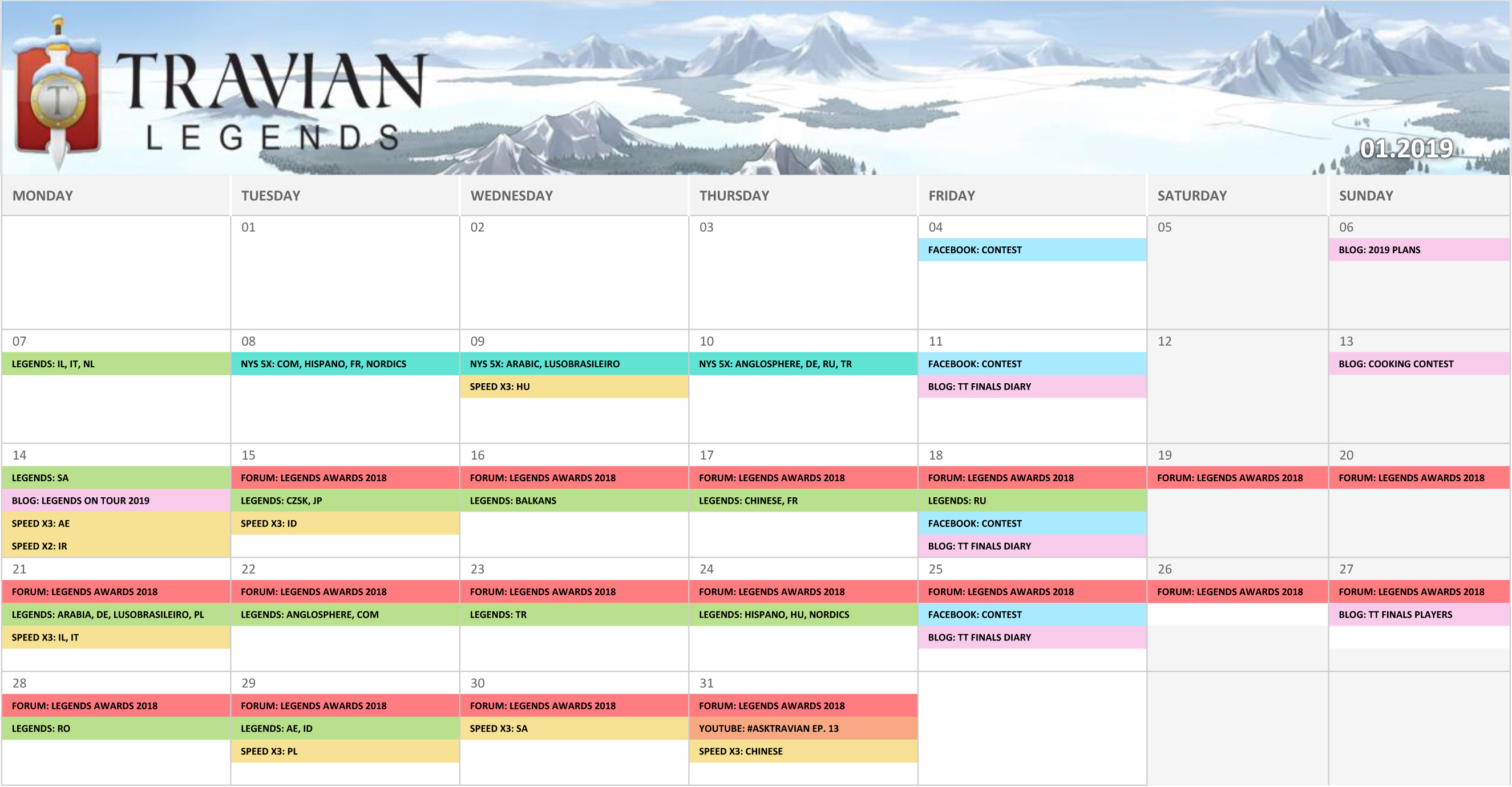 Community Calendar January 2019