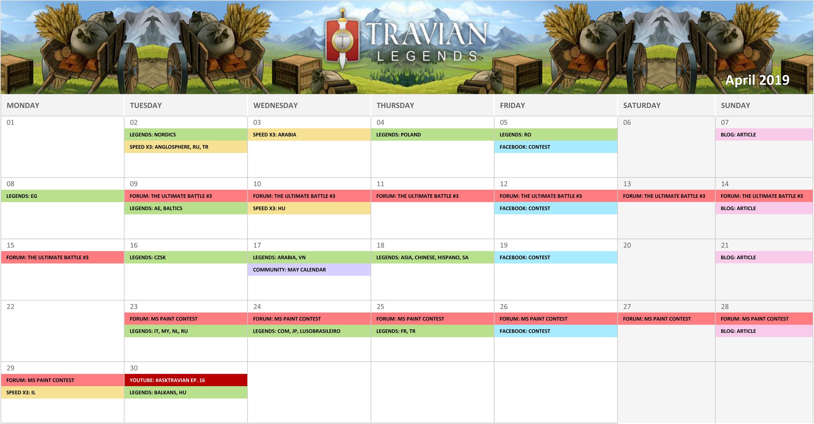 Community Calendar April 2019